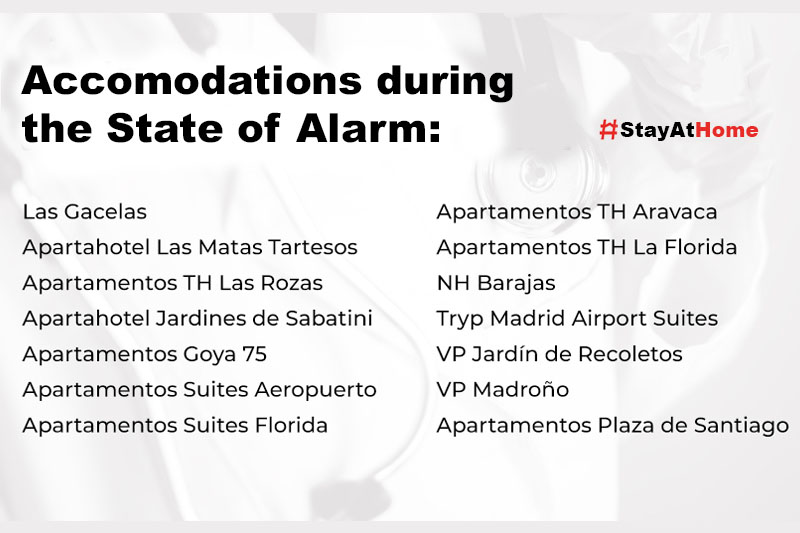 Accommodations during the coronavirus alarm state - COVID19